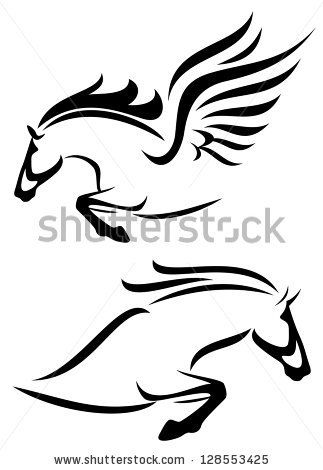 raster - black and white outlines of jumping horse and pegasus (vector version is available in my portfolio) by Cattallina, via Shutterstock