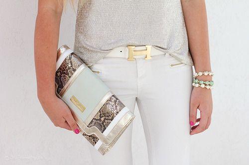 belt, clutch, bracelets