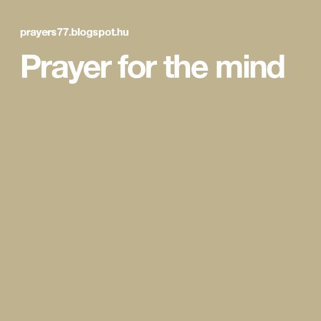 Prayer for the mind