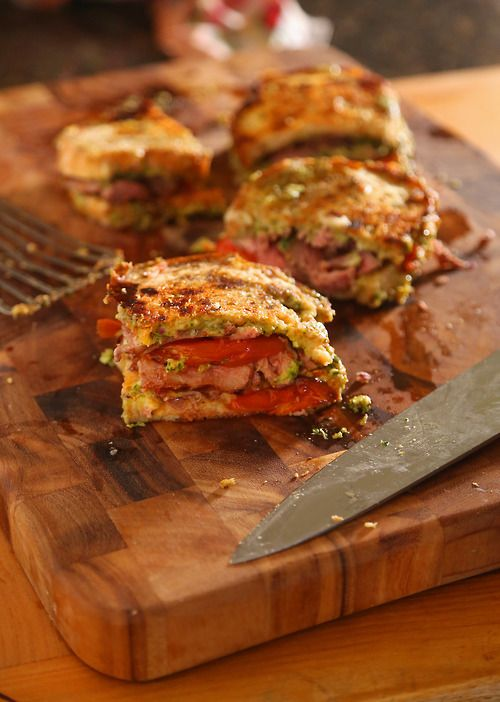 Oven Roasted Tomato, Steak and Kale Pesto Grilled Cheese