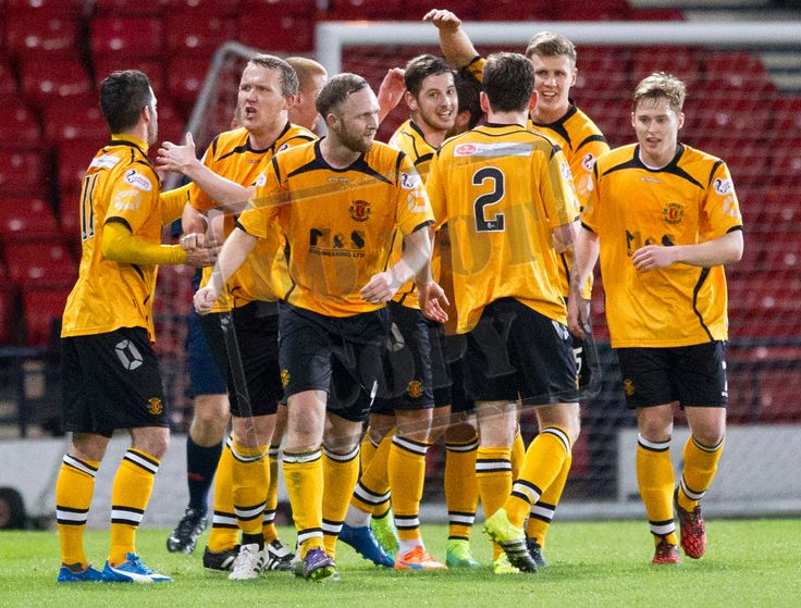 Annan Athletic's players celebrate their third goal during the SPFL League Two game between Queen's Park and Annan Athletic.