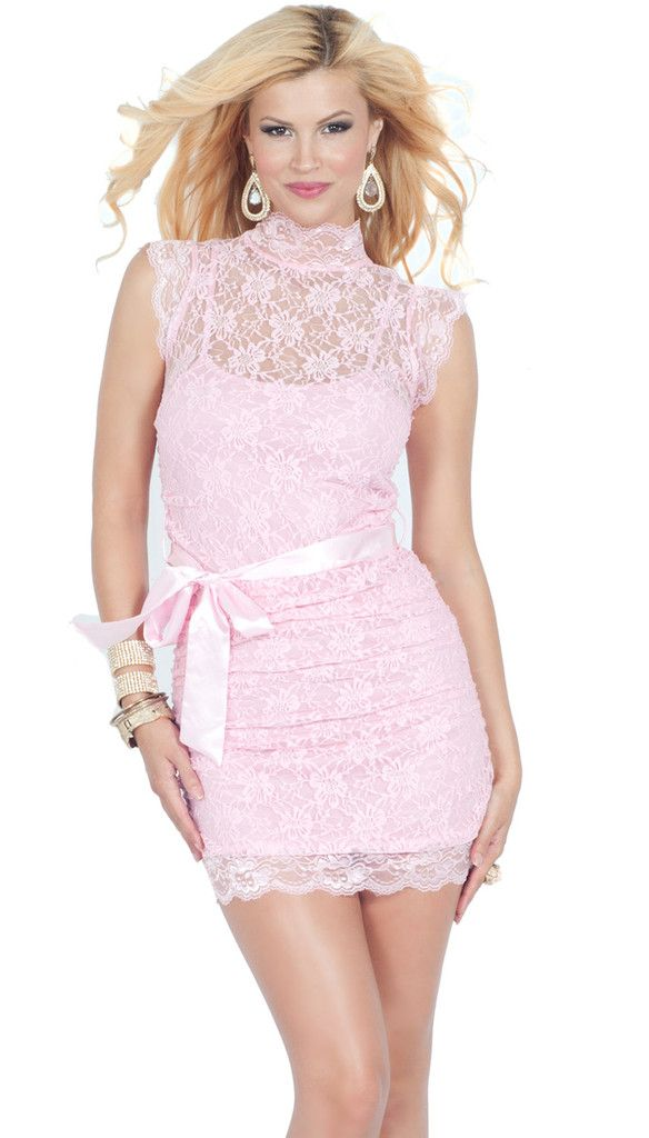 Romantic Pink Lace Overlay Ruched High-Neck Mini Dress