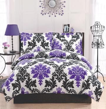 Delany Damask Bedding  (Black, White, and Purple Damask Bedding)  This Black, White, and Purple Damask Set is   elegant and a throwback look with the black   and white lattice work print with bright purple   foulards and a deep purple reverse make this a   great coordinate to your room. Microfiber face   and back make this pattern a perfect pattern for   your dorm with easy care and cleaning.