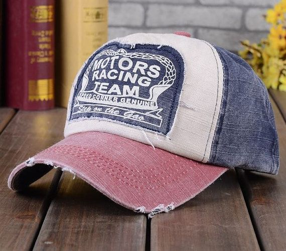 Crazy Cute Vintage inspired Ball Cap! Motors Racing Team Baseball cap Color for this listing: Red/Blue Other colors available in separate