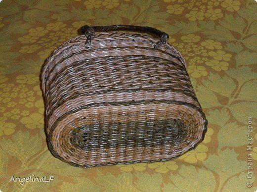 Поделка изделие Плетение Подвесные кашпо Трубочки бумажные фото 6