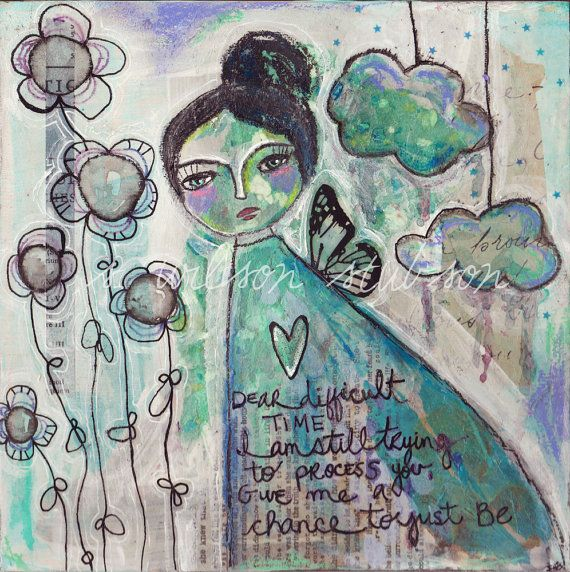 Moody girl painting, mixed media girl, show compassion, smoggy flowers, mixed media painting, art by Serena Wilson Stubson