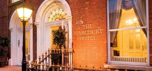 Entrance to the Harcourt Hotel. Great location, but not very comfortable beds