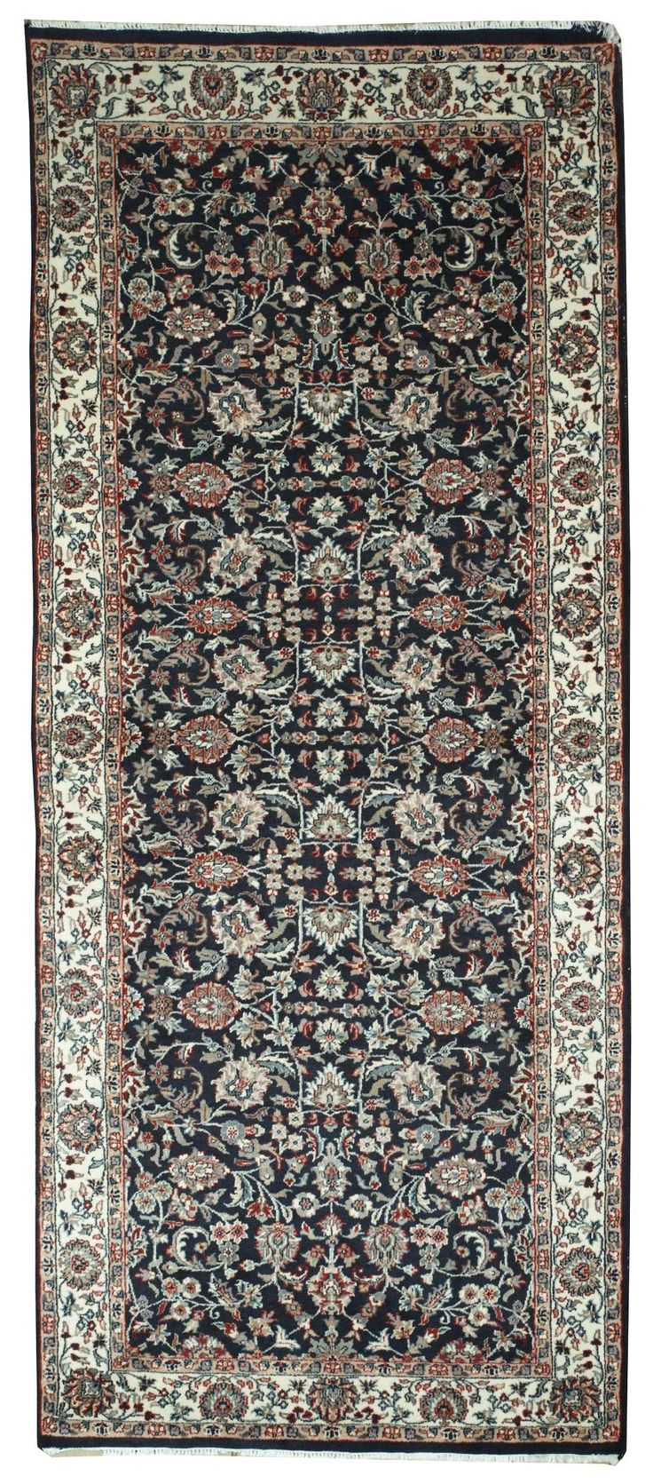This beautiful Handmade Knotted Rectangular rug is approximately 4 x 9 New Contemporary area rug from our large collection of handmade area rugs with Persian Kashan style from India with Wool