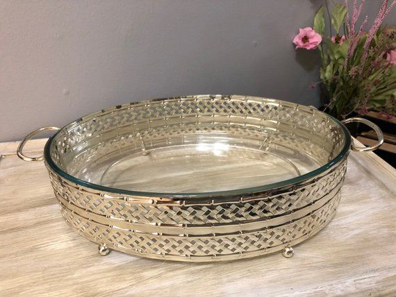 Pyrex Casserole Dish With Silver Tray Vanity Tray Coffee Table