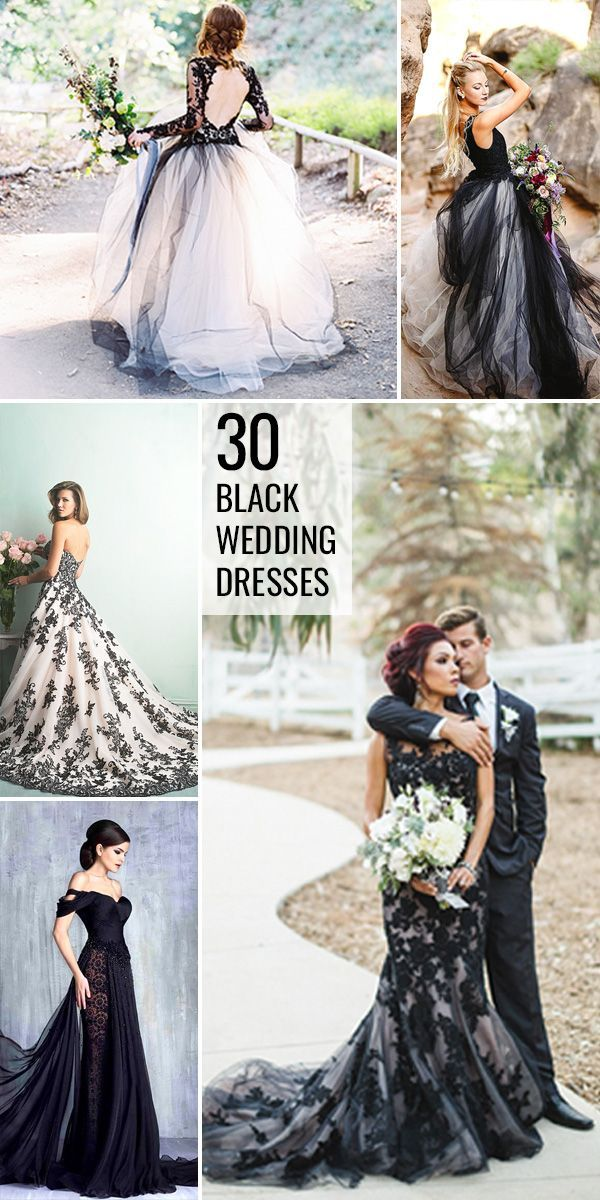 30 Black Wedding Dresses With Edgy Elegance ❤ See more: http://www.weddingforward.com/black-wedding-dresses/ #weddingdress