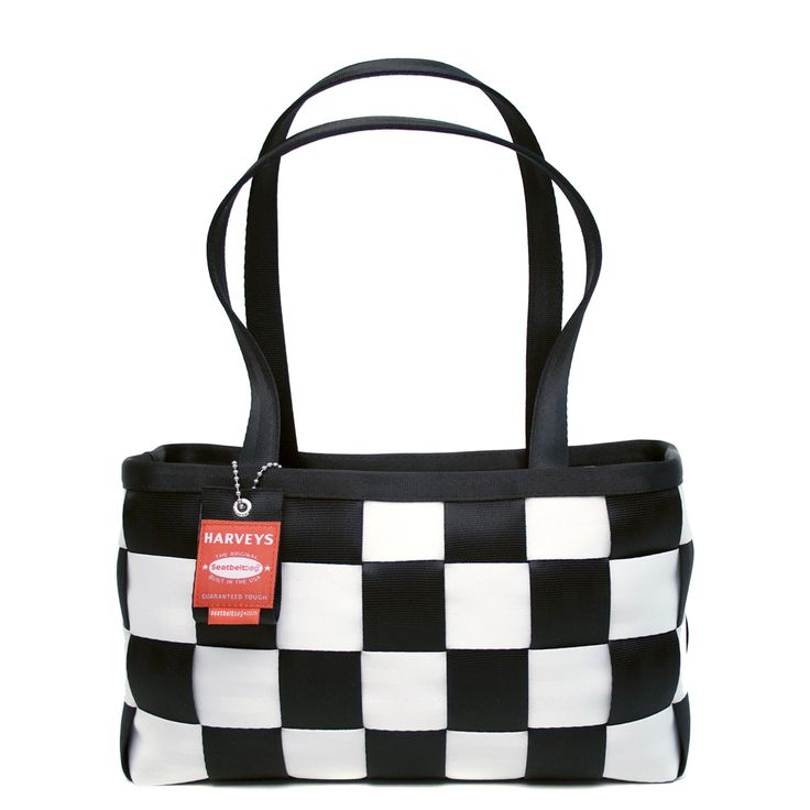 Harveys Seatbelt bag Large Satchel Checkered Black and White Handbag