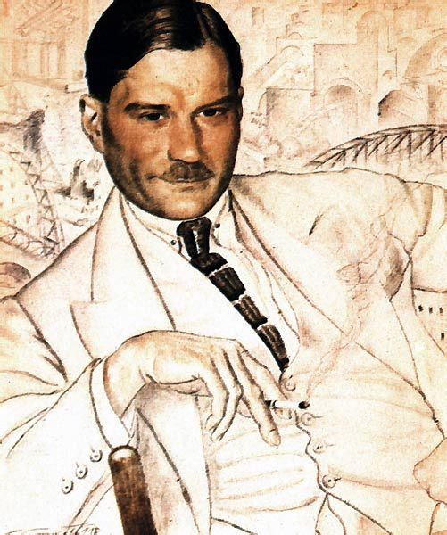Portrait of Yevgeny Zamyatin, 1923 by Boris Kustodiev (Russian 1878-1927)...Zamyatin (1884-1937) was a controversial Russian author of science fiction and political satire, who was banned and exiled by the communist regime.