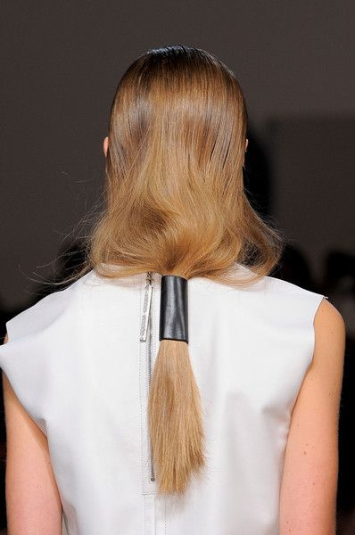 leather-wrapped ponytail at helmut lang spring 2014