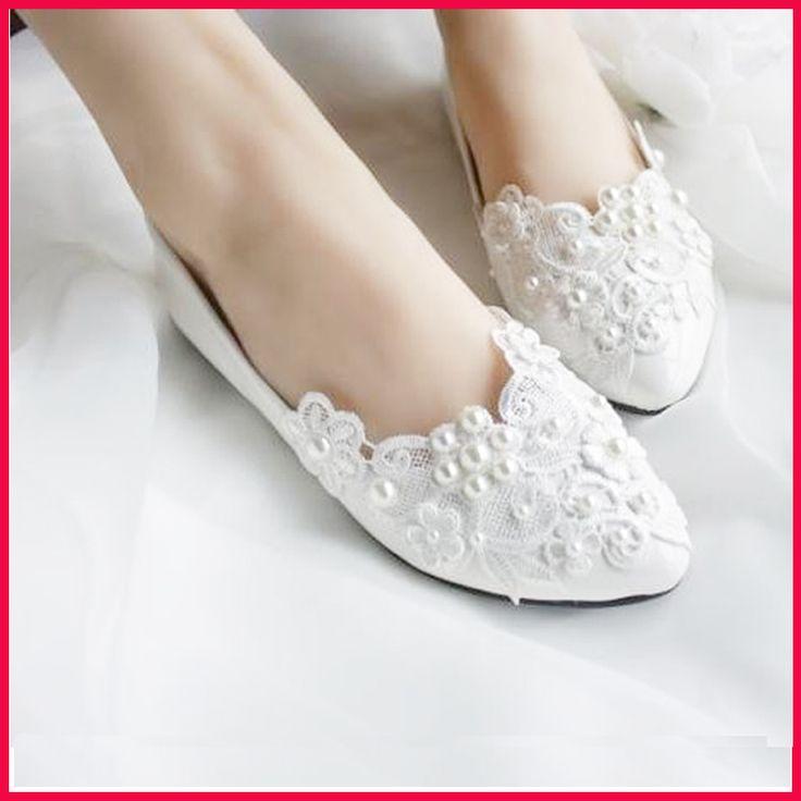 novo euro 2014 size35-40 mulheres pearl lace sapatos das senhoras apartamentos branco liso sapatos sapatos de casamento da dama de honra