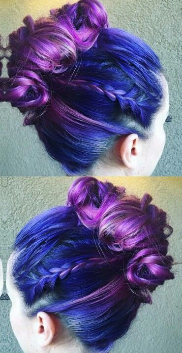 Purple blue dyed updo hairstyle