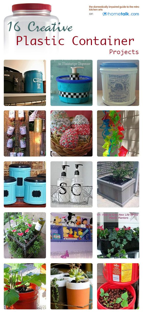 16 Creative {Plastic Container} Projects | curated by 'Kelli's Retro Kitchen Arts' blog!