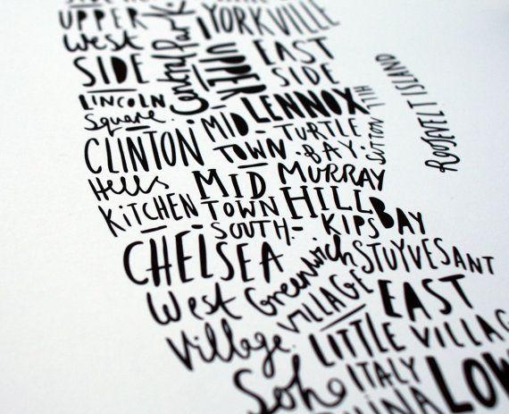 A4 New York print Map of New York van OldEnglishCo op Etsy