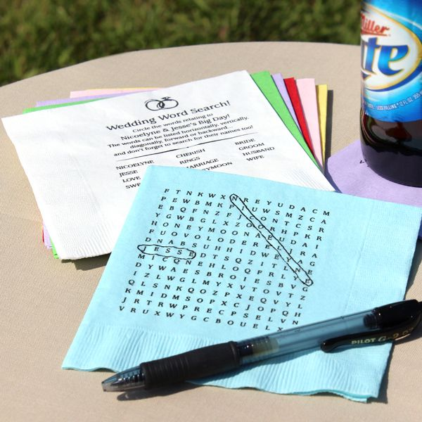 Wedding words discovered on wedding word search puzzle napkins
