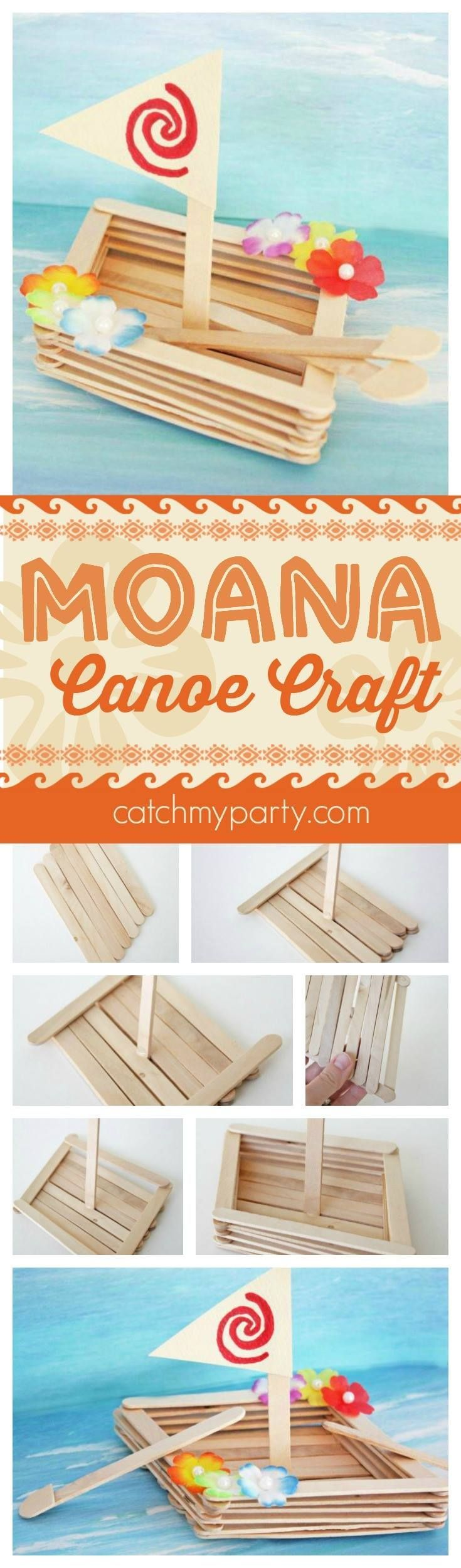 Fun Moana canoe craft perfect for a Moana birthday party activity, party favor, or rainy day craft with your kids. See more Moana party ideas at http://CatchMyParty.com.