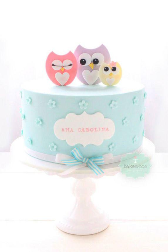 Pretty Pastel Owls on Birthday Cake