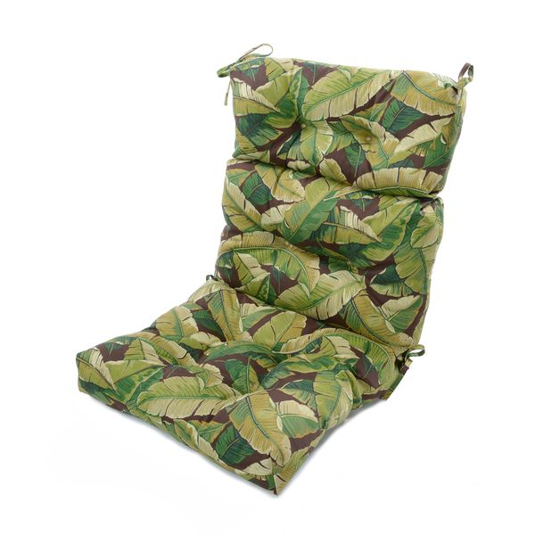 Outdoor High Back Chair Cushion, Palm Leaves 5 Inches thick.  One comment said very firm.