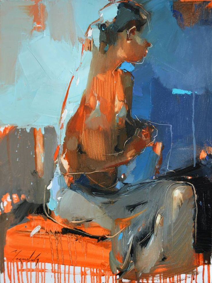 White dress. Sketch, a Oil on Canvas by Iryna Yermolova from United Kingdom. It portrays: Women, relevant to: blue, turquoise, woman, white dress, sitting model, iryna yermolova, lady in the white dress Oil paint sketch of the young lady in white dress.