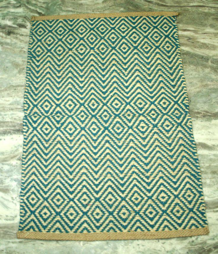 Home Decor Jute Natural Indian traditional door mat floor bath area mat rug 2x3' #Kilim