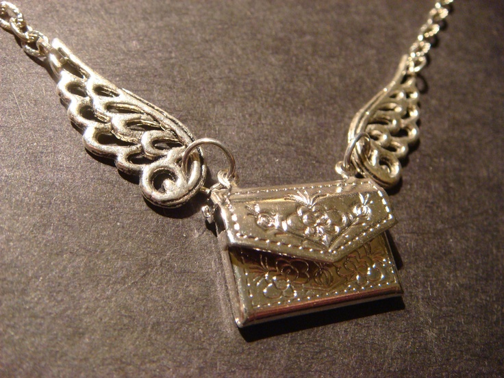 Flying Envelope locket Necklace with Wings. $22.00, via Etsy. Do Want!