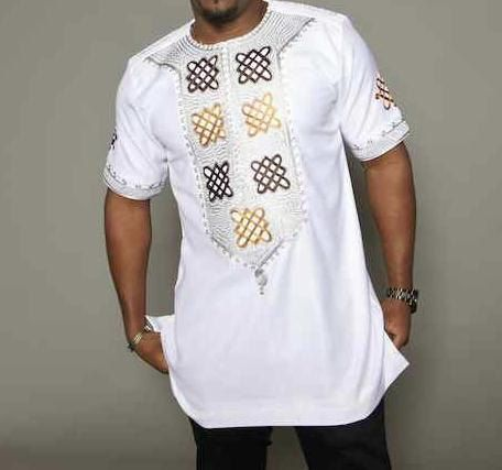 PAPA Men's White Brocade African Top. by BournLoondonLtd on Etsy