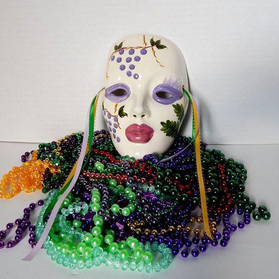 Vintage Ceramic Mask Grape Lady Mardi Gras Mask by FairfaxDavis