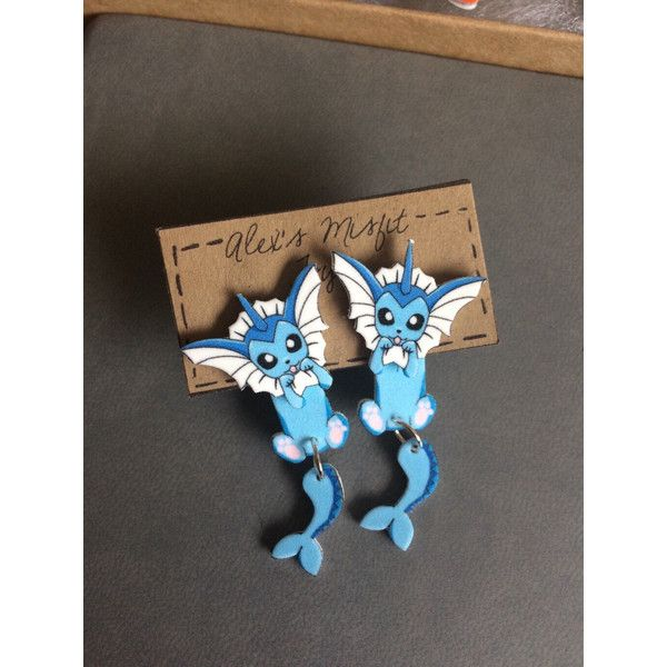 Vaporeon Clinging Earrings Pokemon Fake Gauges (375 PHP) ❤ liked on Polyvore featuring jewelry, earrings, artificial jewellery, imitation jewellery, earring jewelry, lightweight earrings and fake earrings