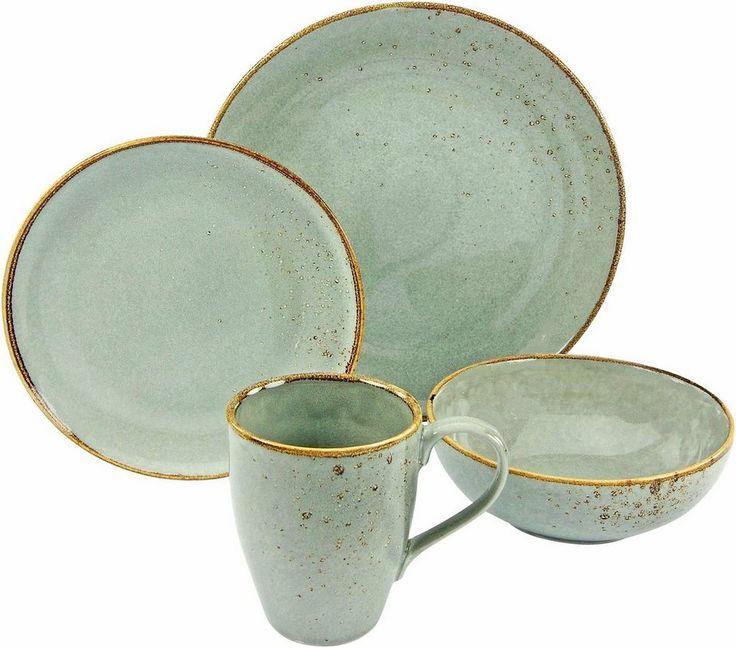CreaTable Geschirr-Set, Steinzeug, 4 Teile, »NATURE COLLECTION« für 29,99€. Single-Set von Creatable, Aus hochwertigem Steinzeug, Dekor in Naturfarben bei OTTO