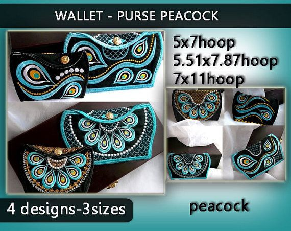 Wallet purse kit peacock  by EmbroideryRady on Etsy