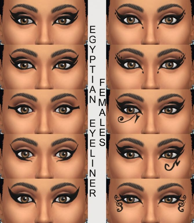 Sims 4 Updates: Mod The Sims - Make Up, Eyeliner : 10 Egyptian Eyeliners by Simmiller, Custom Content Download!