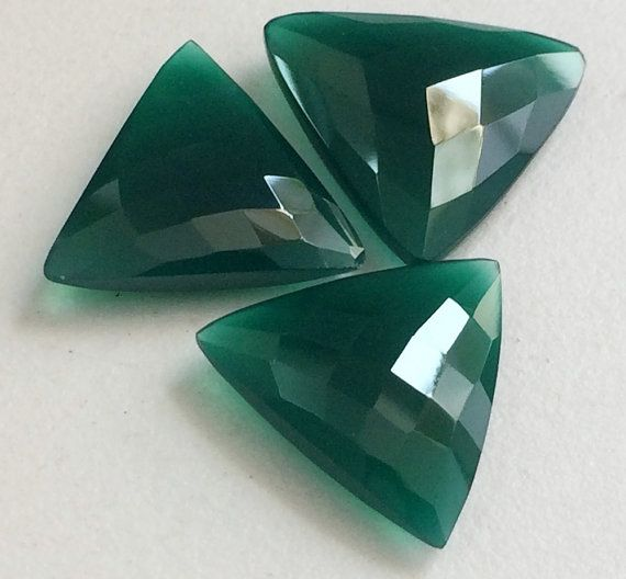 3 Pcs Green Chalcedony Trillion Stones Green by gemsforjewels