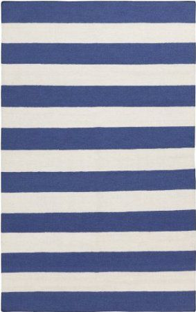 Amazon.com: Surya FT-298 Frontier Corn Striped Reversible Flat Weave Area Rug, 5-Feet by 8-Feet, Blue: Furniture & Decor