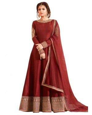 Drashti Dhami Maroon Anarkali Suit