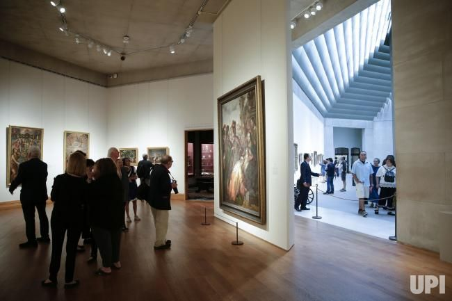 People view the paintings at a press preview for the Cristobal de Villalpando: Mexican Painter of the Baroque at the Metropolitan Museum of…