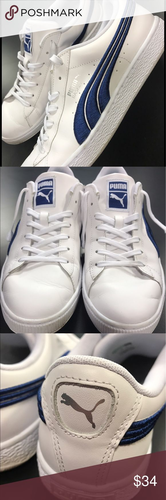 Puma Basket Tennis Shoe Sneaker Men's SZ 10 Classic tennis shoe; Clean lines; Dark blue basket style sneaker; comfy, cozy internal fit; Traditional lace up closure for secure fit. PUMA® Soft and breathable woven mesh and lightly padded footbed for all-day comfort. Puma Shoes Sneakers