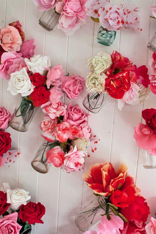 Fabric or crepe paper flowers in a jar! RHS Chelsea Flower Show 2013 - Inside Cath Kidston's Artisan Retreat   Flowerona