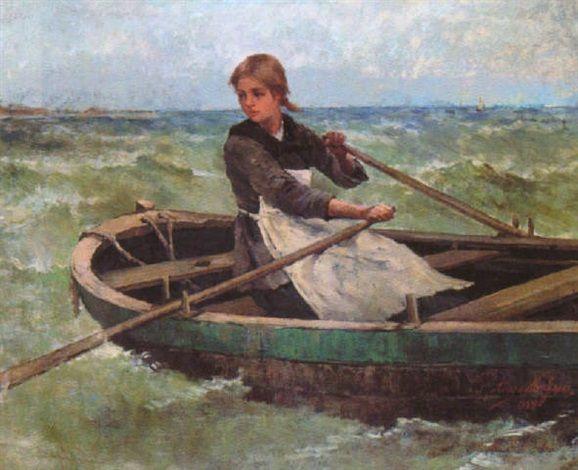 """Anna Nordgren, """"Flicka ror båten"""" (""""Girl Rowing a Boat"""")"""