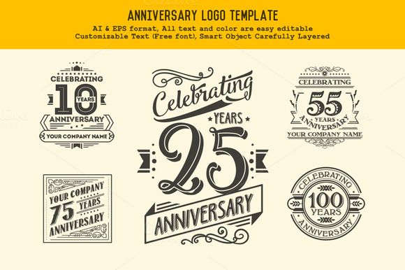 Anniversary Logo Template by Rooms Design Shop on @creativemarket