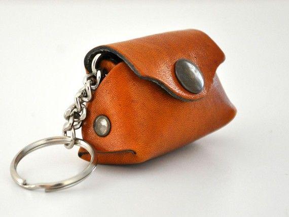 Keychain Leather Mini Bag Key Ring Key Chain Mustard Amber Honey Caramel Handmade Valentines Day