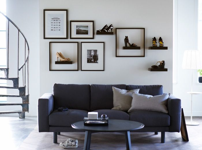 Shoes can be utilitarian pieces of artwork, so why not treat them that way? These wall shelves are the perfect size to display them along with the rest of your wall art. | Creative shoe storage solution