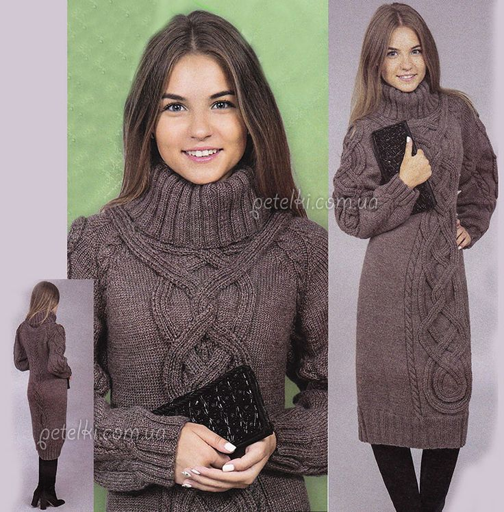 Очень теплое вязаное платье. Описание, схемы