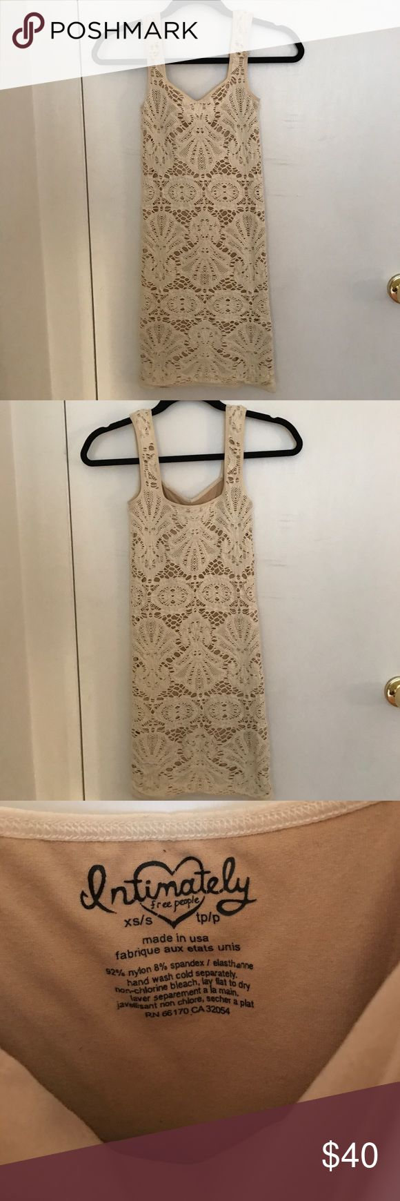 Cream and beige mini dress Free people mini dress. Worn once in excellent condition. Form fitting and flattering! Free People Dresses Mini