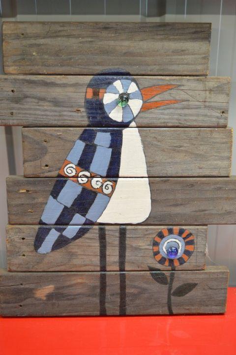 A wooden board art piece inspired by art from Pinterest.