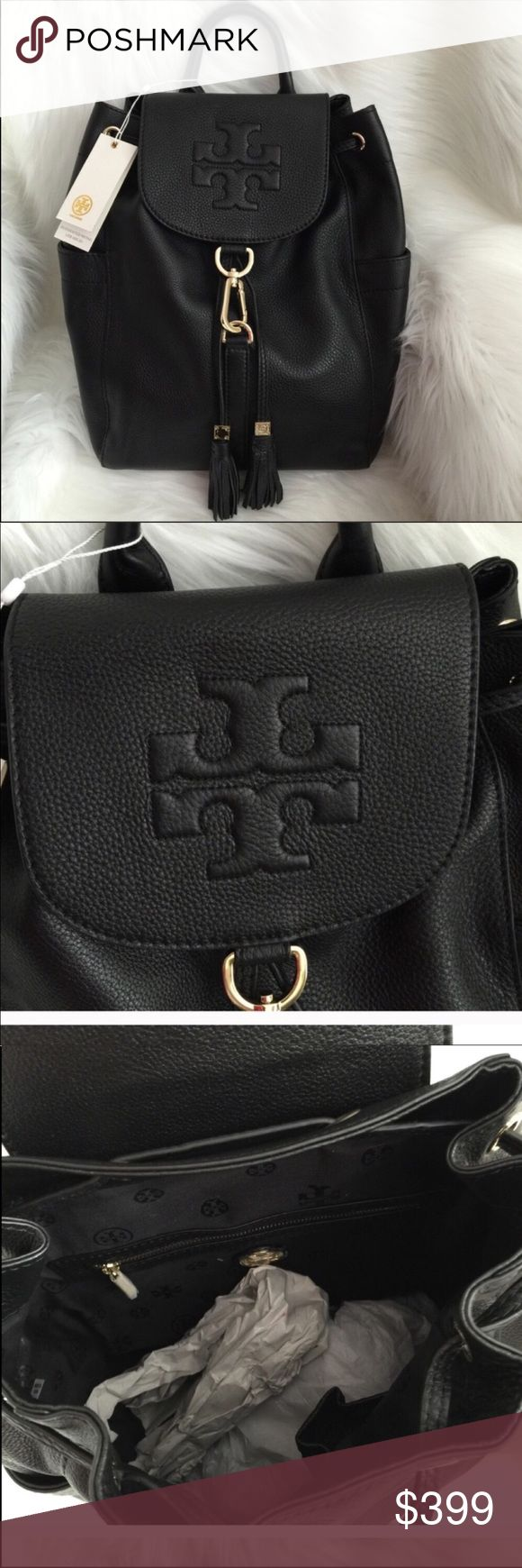 NWT Tory Burch Thea Large Leather Backpack Brand new with tag, store cards, and dust bag. Still in original packaging. 100% authentic. Approx measurement: 13x11x6 Tory Burch Bags Backpacks