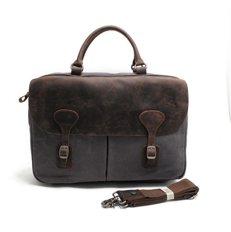 Waxed Canvas Leather Messenger Bag Laptop Briefcase Shoulder Bag AF38