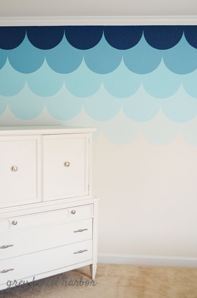 Use the darker color for Garrett's accent wall?? Paint colors are Sherwin Williams matched at Home Depot into tester sizes. From top: Naval (SW 6510), Freshwater (SW 6774), Belize (SW 6945), Blue Bauble (SW 6948), Bouyant Blue (SW 6483)